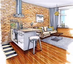 Innenarchitektur modern skizzen  Pin von Evgenia auf Sketch Interior | Pinterest