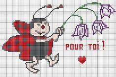 amour - love - coccinelle -  point de croix - cross stitch - Blog : http://broderiemimie44.canalblog.com/