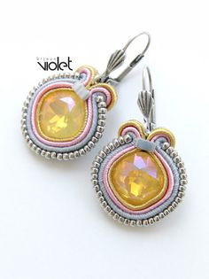 Soutache earrings  Yellow limited por Violetbijoux en Etsy