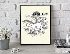 Lion 2  printable poster  gift for him gift for her