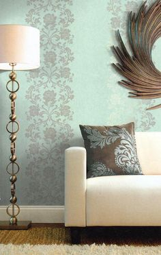 Soft, lovely colors and vertical pattern via Seabrook Wallcoverings.