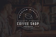 10 Coffee Shop Flat Line Logo by misterRyArt™ on @creativemarket