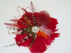 Red Feather Flower Hair Clip with Peacock Feather