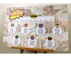 Fabulous, vibrant superhero wedding table plan designed with your favourite super hero logos. Matching table stationery available.