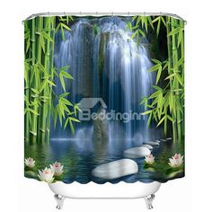 Buy Pattern Shower Curtains Bamboo Lotus and Waterfall Stone Bathroom Curtain Waterproof Thickened Bath Curtain Customizable Cool Shower Curtains, Custom Shower Curtains, Bathroom Shower Curtains, Shower Tub, Stone Bathroom, 3d Pattern, Shower Accessories, Curtains For Sale, Amazing Bathrooms