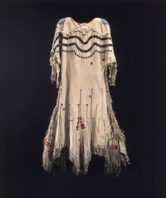 fringes with a ribbon of blue. Blackfoot dress via Christie's Native American Wedding, Native American Clothing, Native American Beauty, American Indian Art, Native American Indians, Blackfoot Indian, Native Indian, Indian Dresses, Indian Outfits