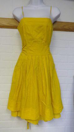 Forever21 XXI Twenty One Yellow Gold Tea Dress Vintage Sundress Women Small S #FOREVER21 #TeaDress #Casual