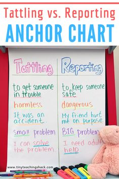 reporting anchor chart- You will also find tattle jar label freebie, tattling vs reporting printables, and a powerpoint lesson to go with the anchor chart. Behavior Interventions, Behaviour Chart, Kindergarten Anchor Charts, Kindergarten Classroom, Classroom Behavior, Kids Behavior, Puffy Paint, Behavior Management, Classroom Management