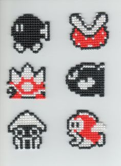 Items similar to Super Mario Bros Enemies Cross Stitch on Etsy