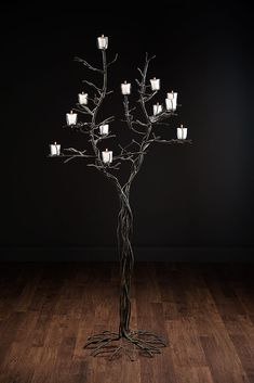 Westport Candle Tree Floor Lamp with 12 Glass Candle Votives  Hand Forged Iron