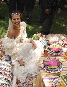 """Italian """"it"""" girl Margherita Missoni weds race car driver Eugenio Amos, in a gypsy themed ceremony in Brunello, Italy. -- Photograph by Matteo Ferrari"""