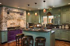 Colorful Kitchen in Log Home
