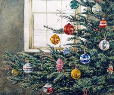 """""""Christmas Bough"""" - by David Armstrong ~ Watercolor Christmas Fern, Christmas Tree Art, Vintage Christmas, Christmas Cards, Felt Christmas, Christmas Wishes, Christmas Photos, White Christmas, Merry Christmas"""