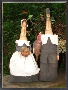 Primitive Folk Art Thanksgiving Pilgrim Stump Dolls