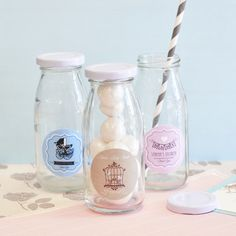 These arorably Vintage Baby Personalized Milk Bottles are perfect for your Vintage themed baby shower! Fill them with the signature drink, treats, or whatever is going to be a hit!