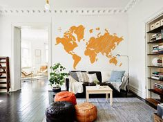 Grand griffonné monde carte Decal pour maison, dortoir, bureau, salle de séjour, pépinière ou chambre à coucher