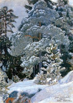 "huariqueje: "" Winter Forest* - Pekka Halonen , 1915 Finnish, Oil on canvas, x 50 c m. * gift for Jean Sibelius "" Winter Landscape, Landscape Art, Landscape Paintings, Landscapes, Scandinavian Paintings, Scandinavian Art, Winter Trees, Winter Art, Russian Painting"
