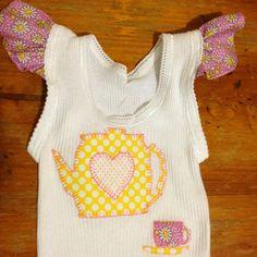 Teapot appliqué baby girl singlet