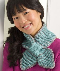 Bow Tie Neck Warmer, free double-ended crochet pattern by Darla J. Fanton
