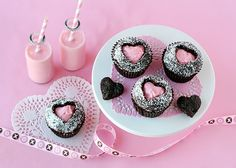 milk and cupcakes- cut outs filled with frosting :) So cute!