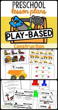Preschool Lesson Plans- Construction Bang, bang goes the hammer! Get your preschoolers learning through play with this fun construction themed unit. Two week of plans, ideas for centers and all the printables you need right here! Preschool Learning Activities, Preschool Lesson Plans, Play Based Learning, Preschool Themes, Preschool Printables, Learning Through Play, Preschool Activities, Preschool Centers, Preschool Writing