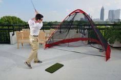The RUKK NET Pop-Up Golf Practice Net by RUKKET. $179.99. The Rukk Net is simple and FAST to set up and take down, generous in size, durable, light-weight, versatile, and most of all- affordable It pops-up instantly to let you practice multiple sports anywhere. Use one practice net for golf, baseball, softball, lacrosse, soccer and football. Use it indoors or outside, in backyards, basements, garages, on patios, at practice fields, or league games.  The Rukk N...