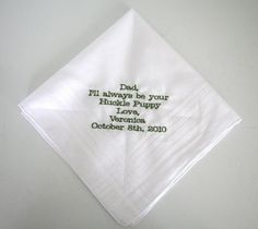 Custom Personalized Wedding Handkerchief by HeatherStrickland, ETSY.