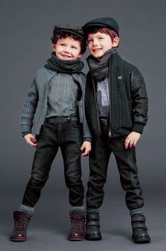 They look like high fashion chimney sweeps! Dolce and Gabbana step in time! :) #VintageKidsFashion Fashion Kids, Young Boys Fashion, Vintage Kids Fashion, Little Boy Fashion, Baby Boy Fashion, Toddler Fashion, Fashion 2017, Toddler Boy Outfits, Toddler Boys