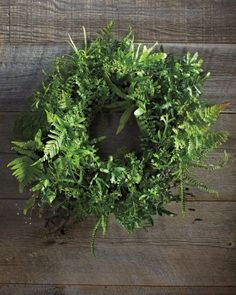 For a really fresh take on evergreen wreaths, make one from indoor ferns.