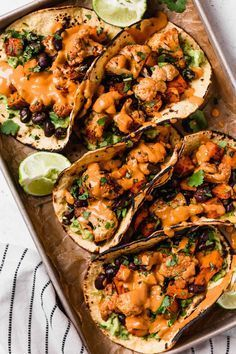 sweet potato + cauliflower tacos an easy vegetarian tacos recipe filled with easy roasted cauliflower, roasted sweet potatoes, black beans, topped with vegan chipotle lime cashew crema. these roasted sweet potato + cauliflower tacos are totally weeknight Tacos Vegan, Vegan Chipotle, Vegetarian Tacos, Chipotle Pepper, Plant Based Dinner Recipes, Healthy Vegetarian Dinner Recipes, Easy Vegan Meals, Vegan Wraps, Recipes For Vegetarians