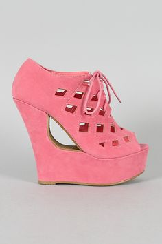 Bessie-10 Cutting Edge Lace Platform Wedge $33.40