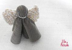 Anjo minimalista em tecido e tricô.  #natal #craft #diy #artesanato