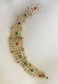 1960 openwork Bracelet in silver and colored by RAKcreations