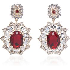 Dolce & Gabbana Red Crystal Earrings (22.605.415 VND) ❤ liked on Polyvore featuring jewelry, earrings, red, sparkling jewellery, sparkly earrings, crystal jewellery, crystal earrings and earring jewelry