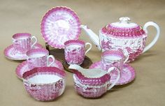 Pink Willow Copeland Spode England Demitasse Set Teapot Creamer Sugar Cups and Saucers.