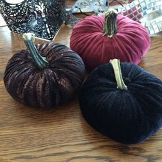 Pumpkins made with velvet cloth by my friend Alicia