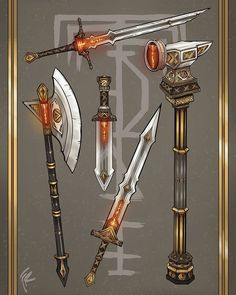 Anime Demon Boy, Sketching Tips, Weapon Concept Art, Fantasy Weapons, Fantasy Inspiration, Swords, The Hobbit, Dungeons And Dragons, Cannon