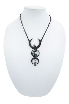Beautiful black carved moons with central glass cabochon of the full moon. Necklace features geometric symbols all linked with chains. Perfect Gothic fashion accessory. - Full Moon glass cabochon with