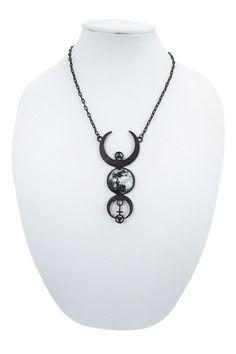 Restyle Gypsy Gothic Dark Magic Witchcraft Black Luna Full Moon Pendant Necklace