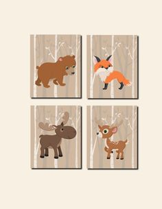 Woodland Nursery Wall Art Canvas or Prints Kid Wall Art Baby Girl Nursery Baby Boy Birch Tree Forest Fox Bear Moose Bear Birch Tree Set of 4 by vtdesigns on Etsy