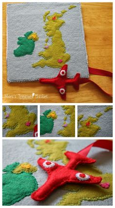 Marc's Treasure Basket: Free Quiet Book Pattern - Felt Airplane Busy Book - This is a super cute idea. I might make a map of the world with a plane to track travel while the littles are flying :)