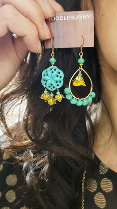 Tropical Punch Teal Earrings – TOODLEBUNNY