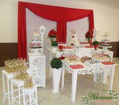 DECORAÇÃO DE CASAMENTO VERMELHO E BRANCO  Aluguel Decoração de Casamento em Provençal Vermelho e Branco, Locação de Mesas Provençais Para Festas Cerimoniais, Casamentos Noivados e Eventos.