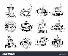 Happy Diwali Typography Set. Typographic Emblems With Lamps. Vector Logo, Text Design. Usable For Banners, Greeting Cards, Posters, Gifts Etc - 490709578 : Shutterstock