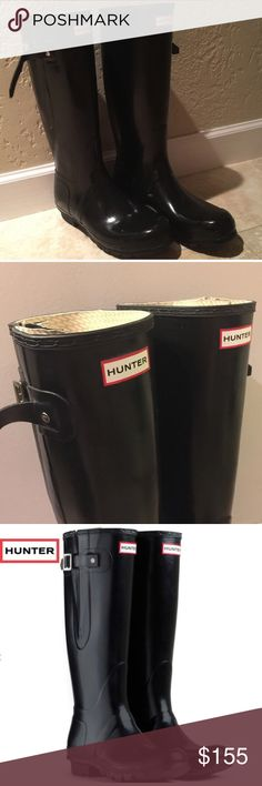 Black (11 men, 13 women) HUNTER BOOTS **PRICE WILL BE REDUCED ON NOV 18 (Friday) Black boots, generally run a bit big. These are great boots, expandable for the calves (no they are not damaged, I just unhooked the rubber while they aren't being used.) quality boots only worn a few times.   It says I sold these a few months back but in all actuality, the price was reduced so low that I couldn't bring myself to sell them, so I cancelled the order. Please make a legit price. These are good…