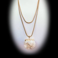 Gold Dipped Milky Quartz Crystal Pendant on Long Gold Snake Chain