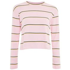 Women's Topshop Stripe Tee (€28) ❤ liked on Polyvore featuring tops, t-shirts, long-sleeved shirts, shirts, striped long sleeve shirt, long-sleeve shirt, stripe t shirt, pink striped shirt and t shirts