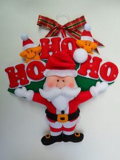 Enfeite de porta Papai noel todo em feltro, feito sob encomenda para deixar sua casa ainda mais com aquele jeitinho gostoso que é o natal.