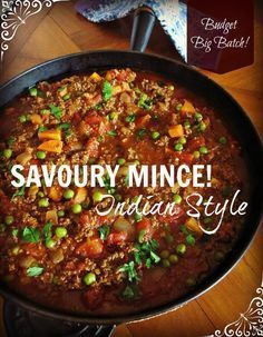 SImple savoury mince gets an Indian makeover in this budget friendly, big batch recipe! Minced Beef Recipes, Minced Meat Recipe, Meat Recipes, Indian Food Recipes, Cooking Recipes, Healthy Recipes, Recipes Dinner, Easy Mince Recipes, Chicken Recipes