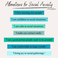 If you experience social anxiety, you likely experience negative thoughts when faced with social situations. These positive affirmations for social anxiety will help you rewire your brand to become more calm and confident in these types of situations. Mantras For Anxiety, Social Anxiety, Be A Better Person, Negative Thoughts, Meeting New People, Positive Affirmations, Confident, Mental Health, Healing